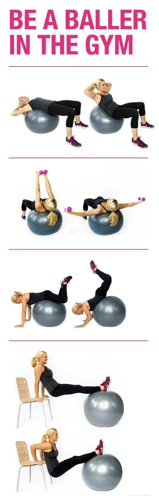 Grab a stability ball, a chair and a pair of small dumbbells. This is a great workout that you could do at home. Minimal equipment requires and a great way to target the arms and upper body!