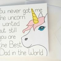 Birthday card for a Dad, Funny unicorn Father's Day card from a daughter