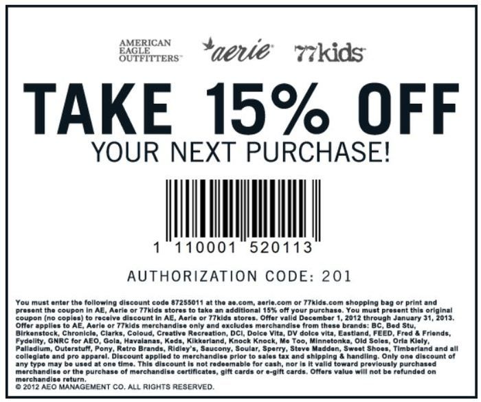 American Eagle Coupon  ***ENDS 1/31/13***
