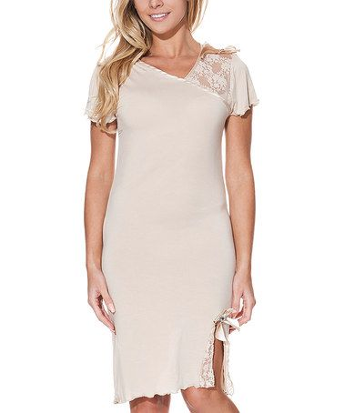 This Beige Lace-Accent Side-Slit Asymmetrical Nightgown is perfect! #zulilyfinds