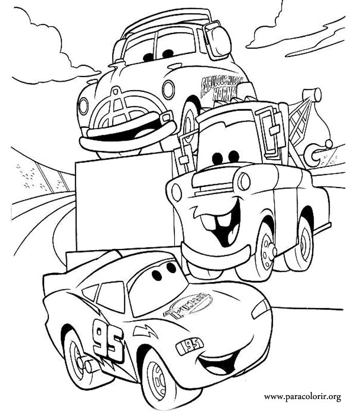 Remember the movie Cars coloring this picture of Lightning McQueen, Tow Mater and Doc Hudson!