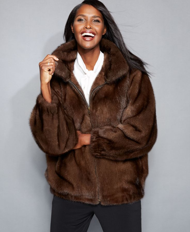 An enveloping silhouette (thanks to well-placed gathering) and ultra-luxurious natural mink fur make The Fur Vault's jacket a standout piece you'll wear for years to come! | Real mink fur; lining: pol