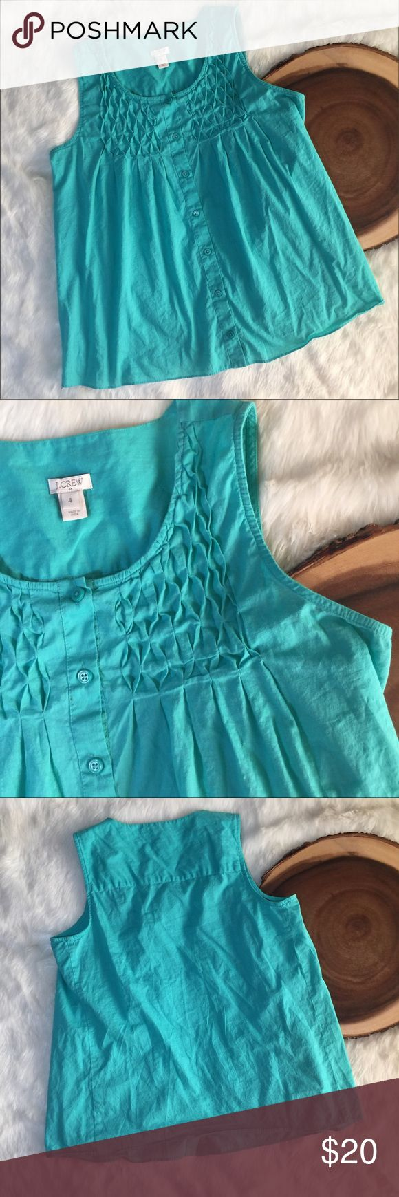 "J Crew Turquoise Retro Rockabilly Tunic Linen styl 18.5"" underarm to underarm  24"" top to bottom Linen like 💯% cotton top  All items photographed immediately prior to packing for shipping   Expect to receive a well-packed item! It may not be pretty packing but I like to use upcycled material & make sure it gets to you without being affected by the elements for you to enjoy asap! J. Crew Tops Blouses"