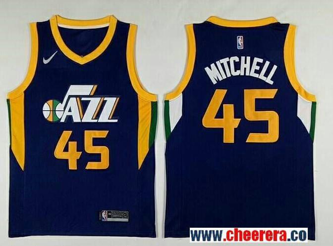 Men s Utah Jazz  45 Donavan Mitchell Navy Blue 2017-2018 Nike Swingman  Stitched NBA Jersey eb1d28a1e