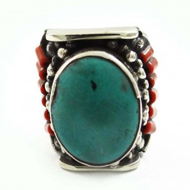 Turquoise Mosaic Tiles Silvertone Jewelry Women Fashion Ring Jewellery Sz 9