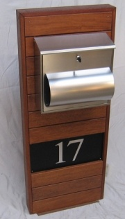 timber letterbox with street number etched in anodised metal