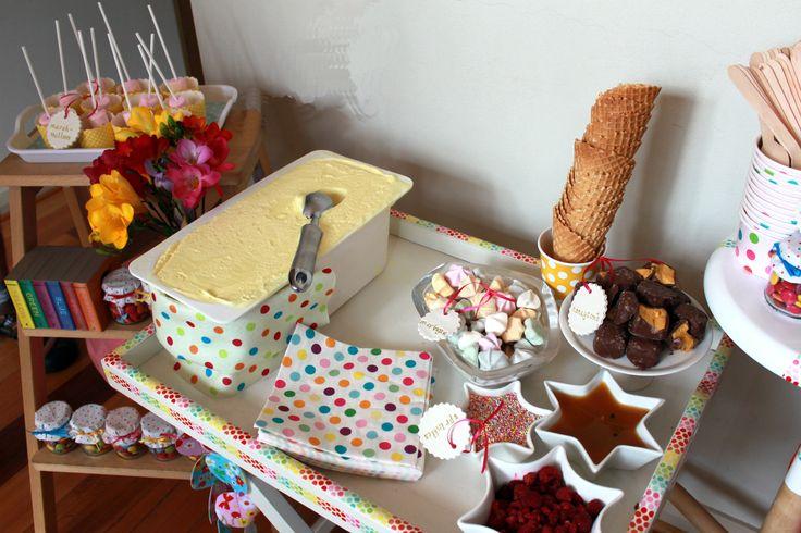 Confetti polka dot ice cream buffet
