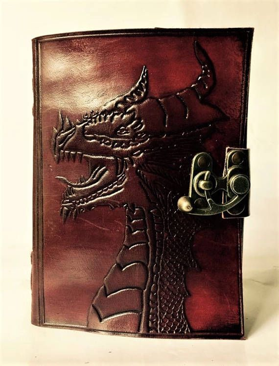 Leather Journal // Dragon Blank Leather-Bound Journal // Blank