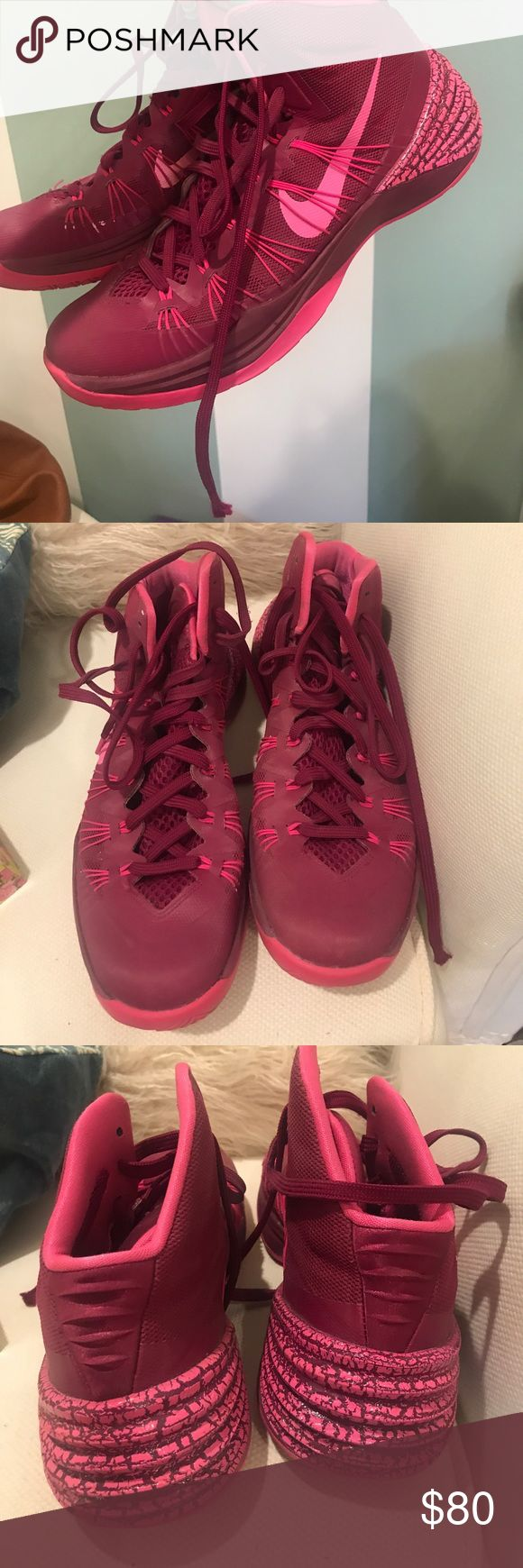 Barely worn pink Nike Hyperdunk basketball shoes Pink basketball shoes (only flaw is aglet of right shoe lace) Nike Shoes Athletic Shoes