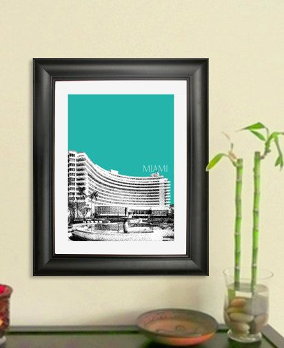 Miami Skyline Poster Miami Fontainebleau Hotel Art by DBArtist. $20.00 USD, via Etsy.