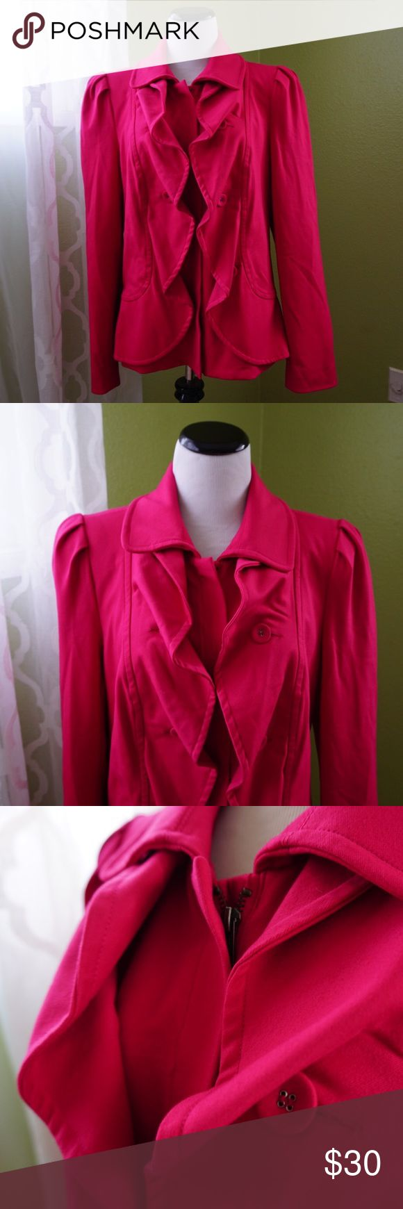 INC Hot Pink Blazer Zip up blazer/jacket. Buttons under ruffle/wavy detail. Buttons are just for look - they do not button. INC International Concepts Jackets & Coats Blazers