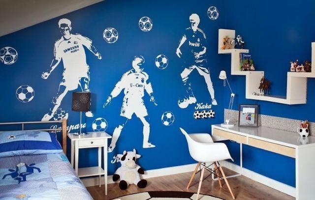 Jugendzimmer Junge Gestalten Ideen Wand Fussball Thema In