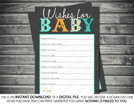 Instant Download Baby Boy Wishes for Baby Card  Gray by Sassygfx, $5.00