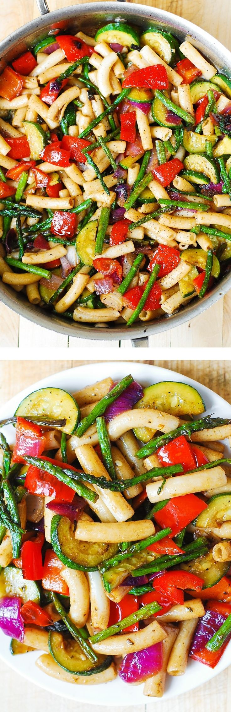 Healthy Pasta Salad with Roasted Vegetables - a delicious way to utilize lots of veggies in a healthy, satisfying main dish!