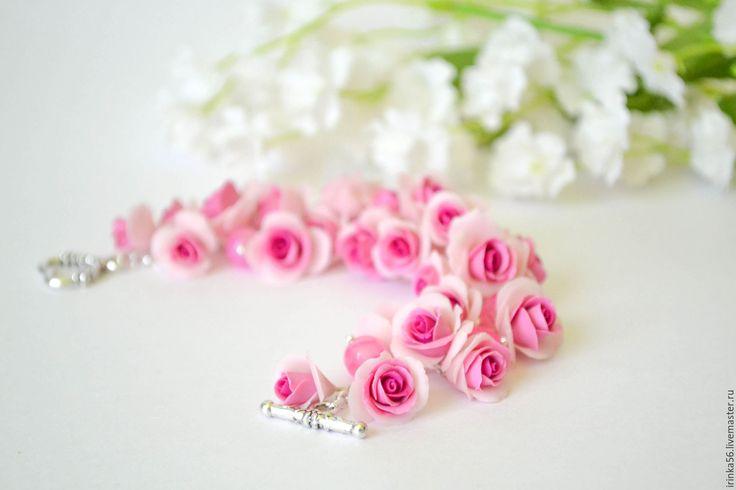 """Купить Браслет """" Нежные розы"""" - розовый, розовый цвет, фуксия, смешанный цвет"""