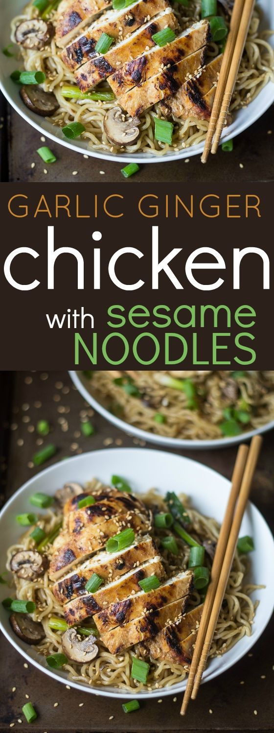 Craving a take-out noodle bowl? This Garlic Ginger Chicken with Sesame Noodles is quick, easy, and hits the spot every time!