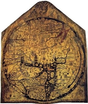 """St. Brendan's Isle on the Hereford mappemundi of 1275. St. Brendan of Ardfert (ca. 484-578) was an Irish monk who was said to have sailed, with sixty men, into the Atlantic Ocean in search of the Isle of the Blest. According to the story, they sailed for five years and saw many wonders, eventually reaching a beautiful island where they met a holy man. Brendan believed this was the """"Promised Land of the Saints."""""""