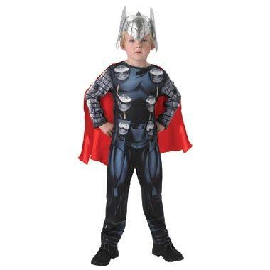 Avengers Thor kostuum - maat 92/116  Verkleed je als de superheld Thor! Dit kostuum in maat 92/116 bestaat uit een bedrukte grijs met blauwe onesie inclusief een rode cape en een zilvere Thor helm.  EUR 29.99  Meer informatie
