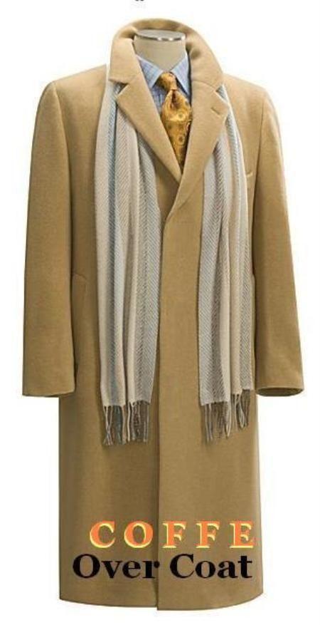 SKU#Coat03 Camel~Bronz Men's Full Length Overcoat in Pure Wool Blend 3 Button Style Fully Lengh Coat