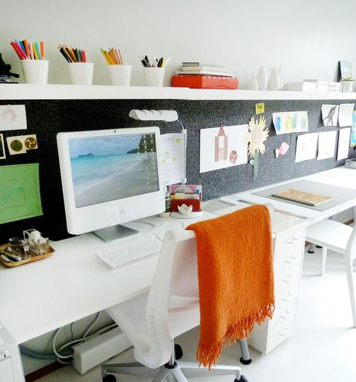 Top floor office. Full length worktop with pin board above and then a shelf. Buy from ikea? Depth needs to be 600mm. + 1 drawer unit for storage.