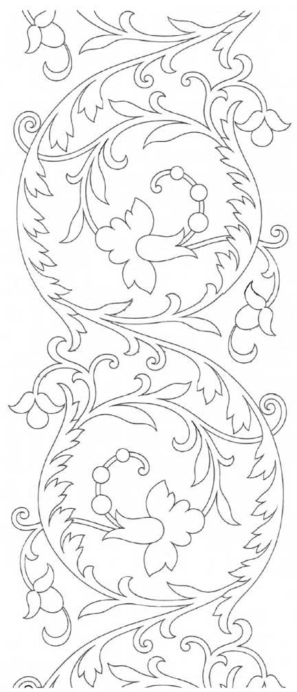 Free Hand Embroidery Pattern from the site of Mary Corbet: Repeatable Scroll Design from Therese Dillmont.