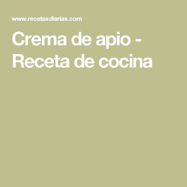 Crema de apio - Receta de cocina