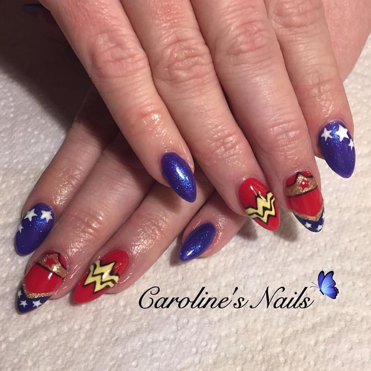 Wonder Woman nail art by Caroline x