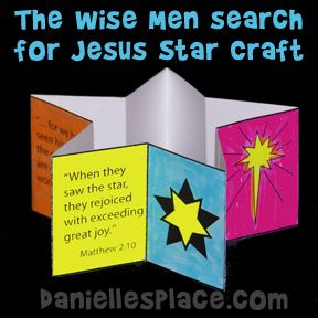 Christmas Craft for Kids - The Wise Men Search for Jesus Star-shaped Book Craft from www.daniellesplace.com