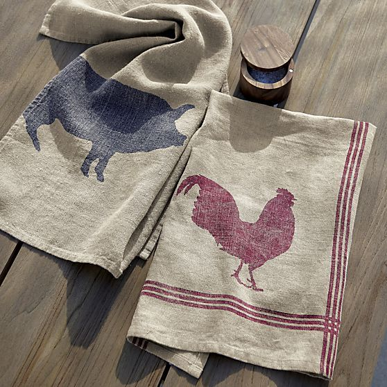 Rooster & Pig Linen Dishtowel | Crate and Barrel