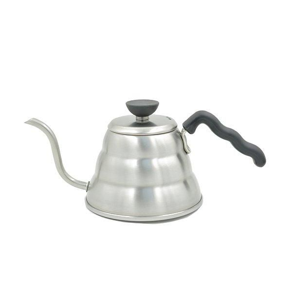 The Hario Buono Kettle 1L is built with high grade stainless steel and looks slick in any kitchen. This stainless steel body is durable and hygienic.    The easy grip handle keeps your hand comfortable while you pour your water, even when the kettle is full. A single finger atop the flat top lid can add additional balance and control.