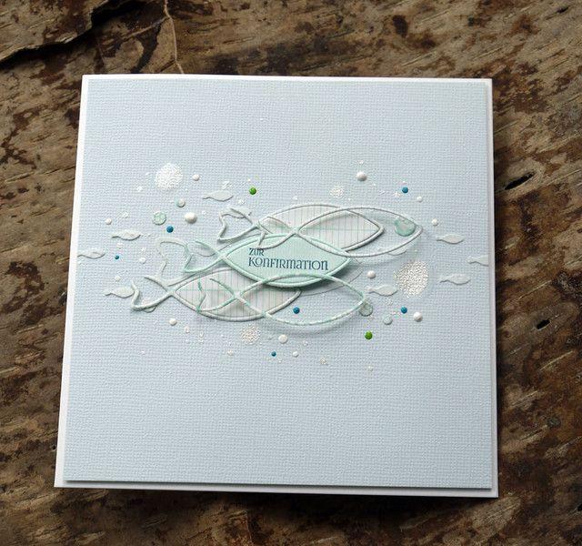 """Glückwunschkarten - Konfirmationskarte """"Fische"""" - ein Designerstück von Bluetenstempel bei DaWanda"""