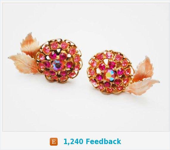 Pink Rhinestone Earrings - Enamel leaf - Flower floral - Mid Century - clip on -Aurora Borealis https://www.etsy.com/serendipitytreasure/listing/538592832/pink-rhinestone-earrings-enamel-leaf?ref=listing_published_alert