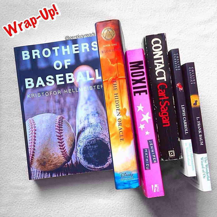 Afternoon guys!  Here's my Feb wrap up!  : : 1. Contact by Carl Sagan 4/5 stars  : : 2. Brothers of Baseball  by Kristofor Hellmeister 5/5 stars  : : 3. Trials of Apollo The Hidden Oracle by Rick Riordan 5/5 stars  : : 4. Alice's Adventures in Wonderland by Lewis Caroll 3.5/5 stars .5 : : 5. The Wonderful Wizard of Oz by L. Frank Baum 5/5 stars  : : 6. Moxie by Jennifer Mathieu 3.8/5 stars .8 : : I guess max I could read in a month is 6! I hope this continues…