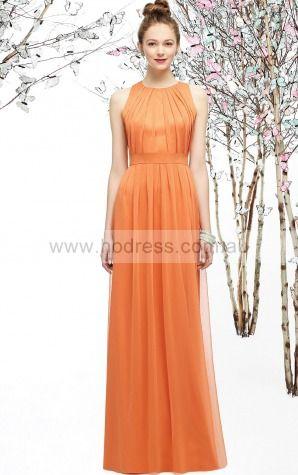 Chiffon Natural Princess Floor-length Bridesmaid Dresses 0800117--Hodress