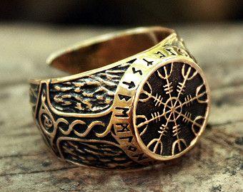 Bronze Vegvisir Futhark Runes Vikings Compass Magic Stave