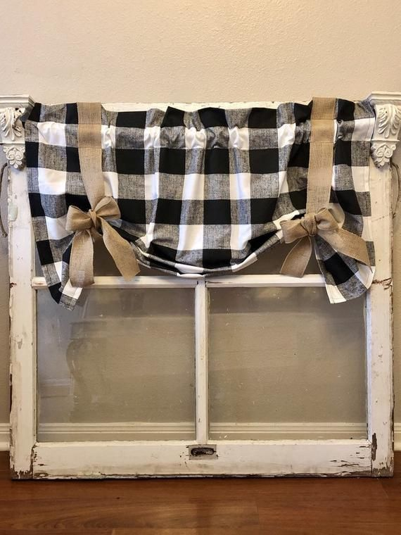 Black And Natural Buffalo Check Tie Up Shade Burlap Curtain Farmhouse Curtain Barn Kitchen Barn Curtain Far Buffalo Plaid Curtains Curtains Plaid Curtains