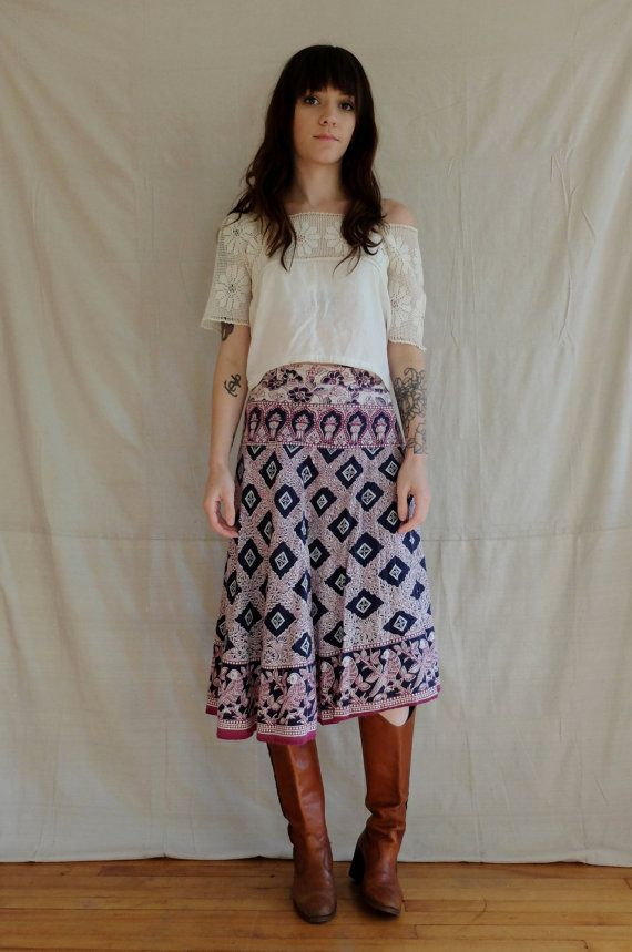 vintage 70s india cotton print wrap midi knee by SweeetLeafVintage
