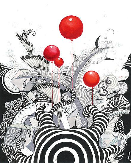 love the pop of red  (by Annya Kai) - More doodle ideas - Zentangle - doodle…
