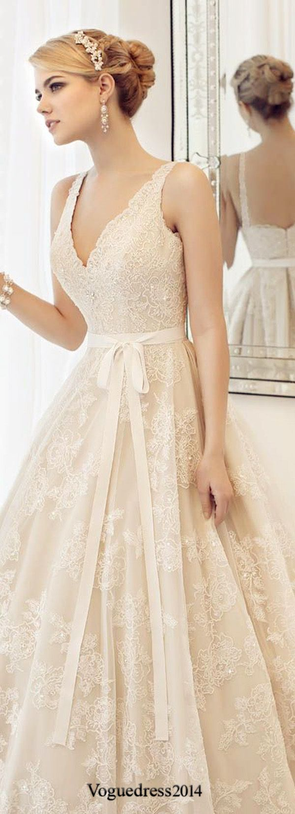 vintage lace wedding dresses with ribbon #weddingdress