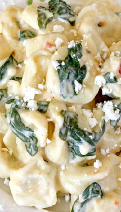 Cheese Tortellini with spinach feta alfredo sauce:  I prefer the meat tortellini, whether it be beef or chicken.