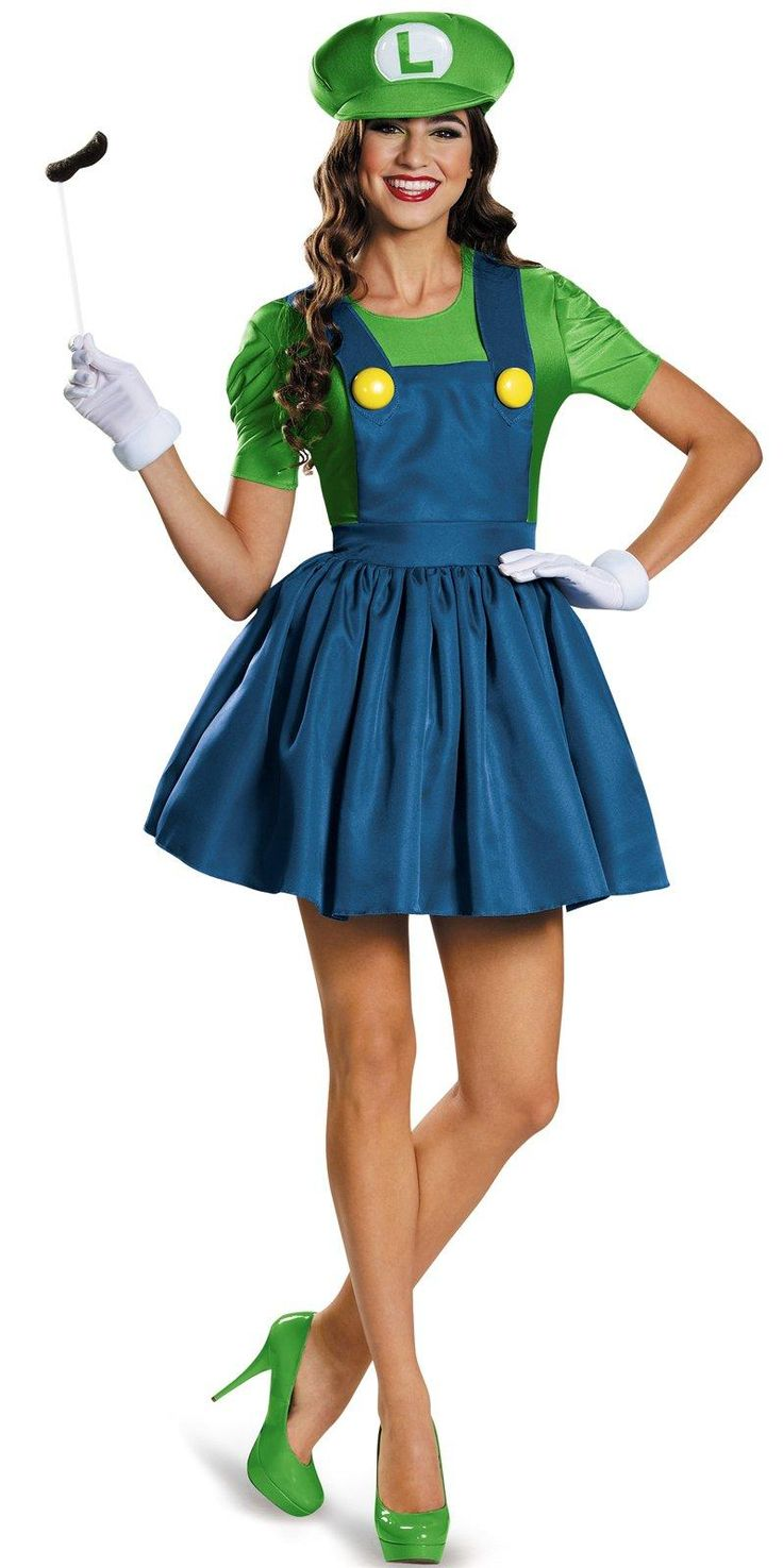 Super Mario: Womens Plus Size Luigi Costume With Skirt from CostumeExpress.com