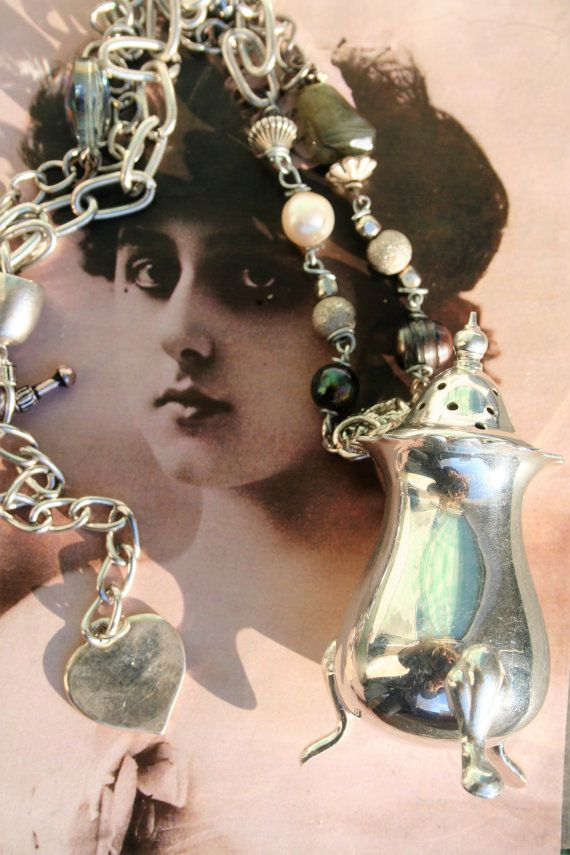 Assemblage necklace Antique assemblage Statement by IRISHTREASURE