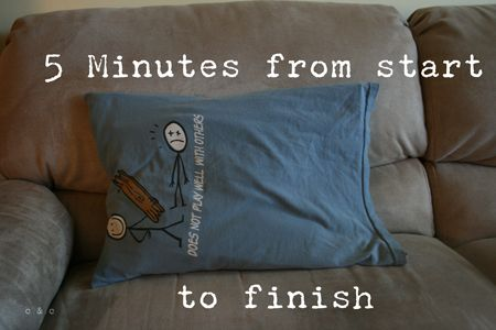 Repurposed / recycled T-shirt pillowcase - now I know what to do with some of our extra T=shirts!!!!
