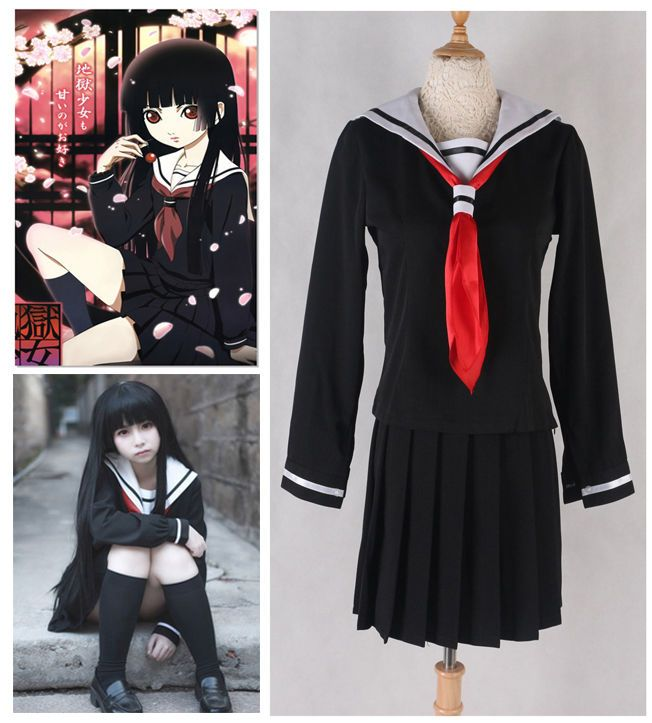 Hell Girl Jigoku Shoujo Ai Enma Cosplay Costume Dress Sailor Anime Uniform Skirt