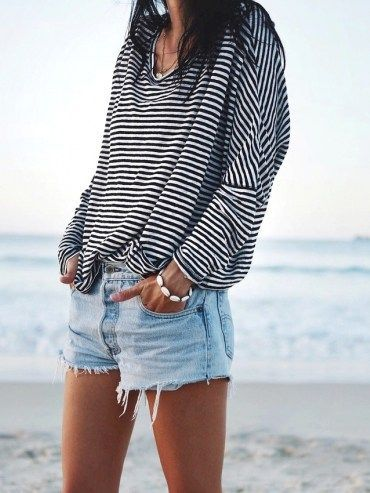 Oversized striped tee and denim shorts #summer #style