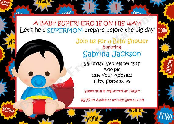 picture about Free Printable Superhero Baby Shower Invitations identify Superhero Youngster Shower Invitation - Custom made Published Superhero