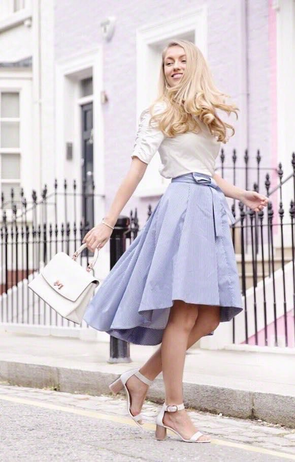 34311d556 TWIRL INTO SUMMER like Freddy in Ted's ladylike LINZA blue cotton skirt. A  striped style with an elegant dropped hem and pretty bow belt, it's the  perfect ...