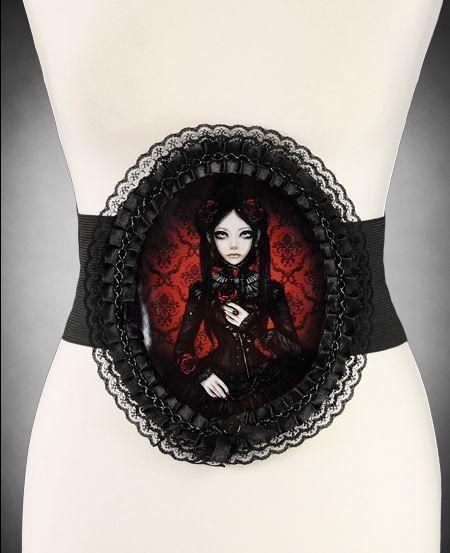 Gothic Stretchgürtel Cameo Motiv victorian Lady schwarz rot RED DOLL gürtel