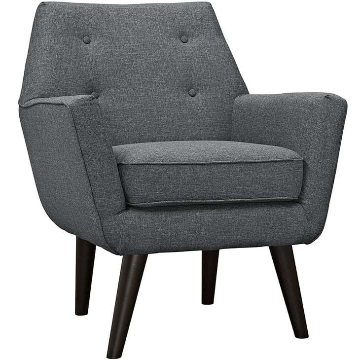 - Info - Colors - Dimensions Engage your sensibilities with the organically shaped Carmine armchair. Carmine is gracefully positioned on solid espresso stained dowel legs designed according to mid-cen