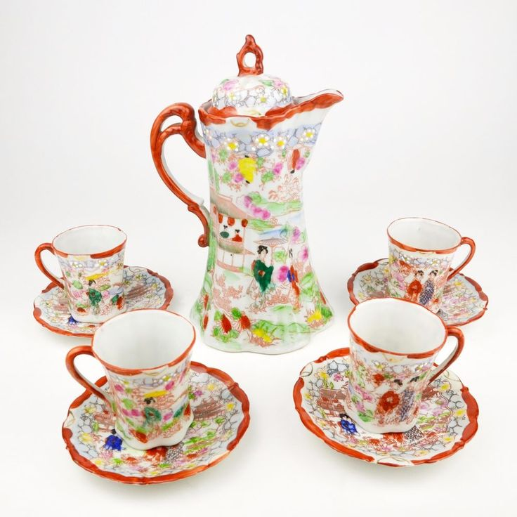 """Gorgeous colorful piece of Nippon porcelain. Hand-painted with gold gilding and white enamel. Manufacturer's mark, """"Made in Japan."""".  #Nippon #porcelain #chocolatepot #coffeepot #teapot #cupandsaucers  $128.00  http://www.ebay.com/itm/Nippon-Japanese-Porcelain-Chocolate-Pot-Coffee-Teapot-Geisha-Enamel-Red-Set-/132162702835?hash=item1ec582cdf3"""